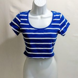 Ambiance Apparel nwt striped crop top m short slee